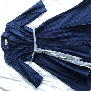 Anthropologie Navy Cotton Fit & Flare Shirt Dress
